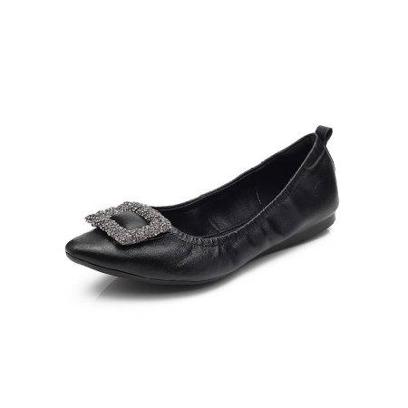 Garthphil 浅口单鞋女真皮低跟舒适透气豆豆鞋l007195-3256·黑色