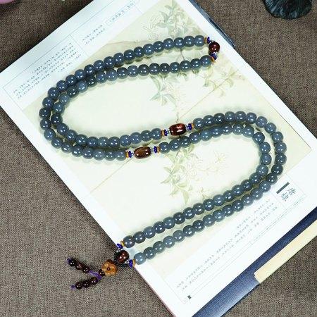 (精品)美润和田玉冰紫色老型珠108长链