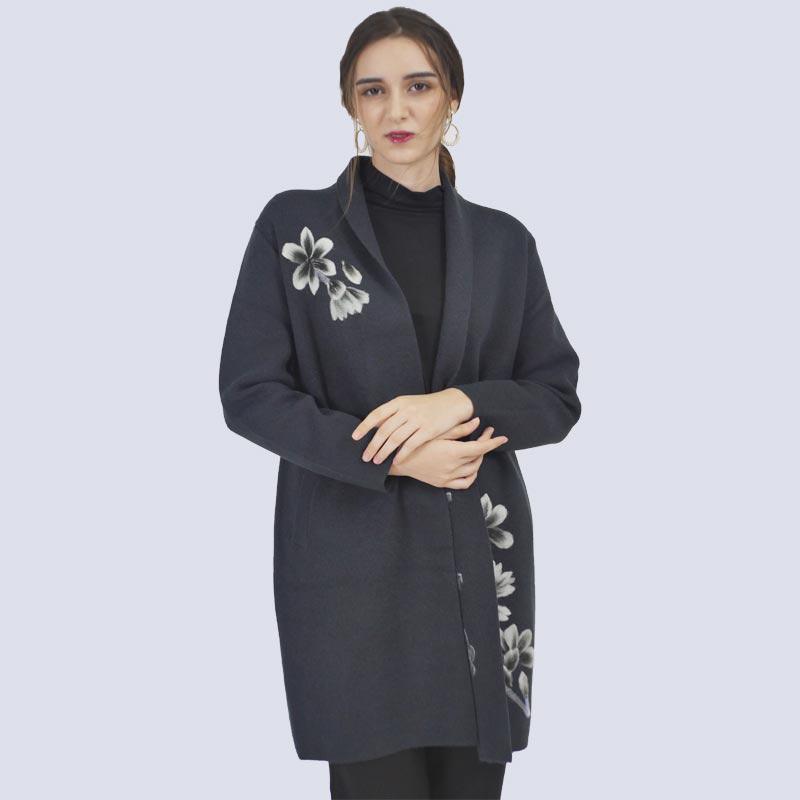 圣格伦纳毛织绣花外套·灰色