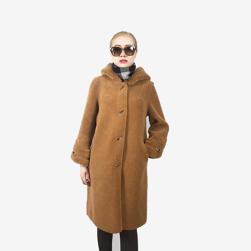 娜雅梦露 华贵连帽羊毛大衣·浅咖色