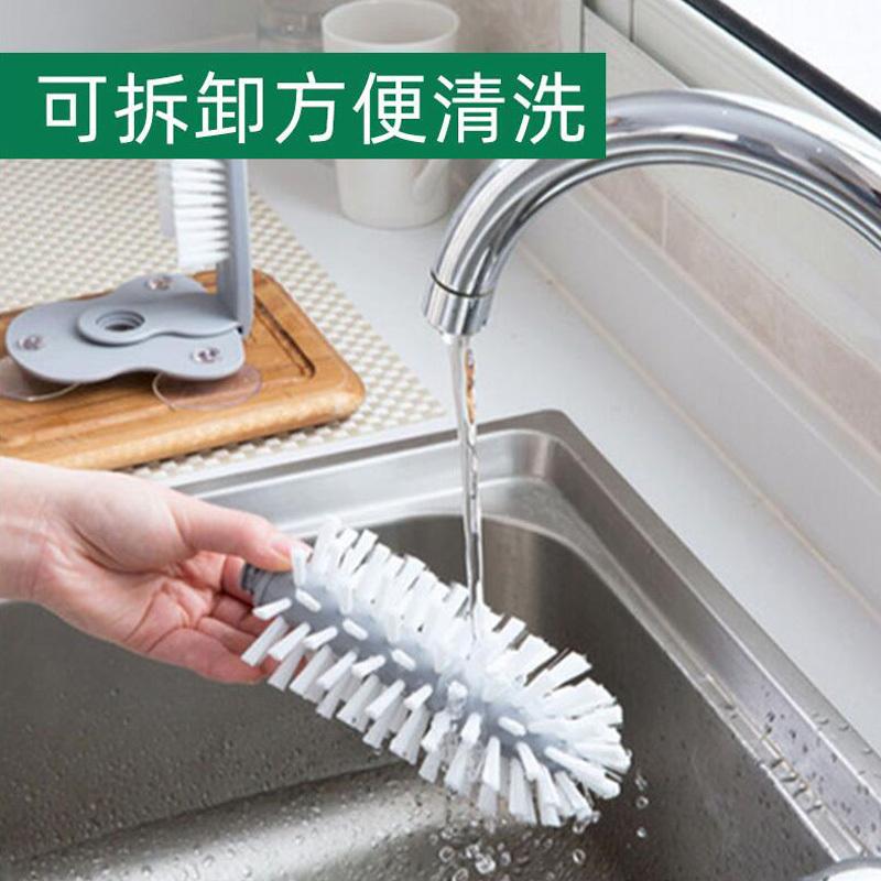 懒人洗杯子神器创意吸壁式洗杯刷(2个装)吸盘安装 双头刷设计 有效去污!·灰色