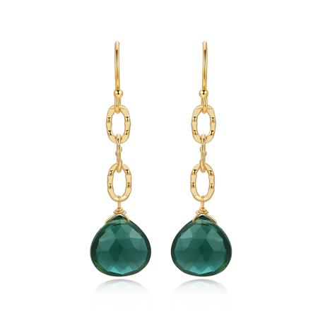 Piara18K金电镀耳环耳饰清丽显白绿石英耳环E46398