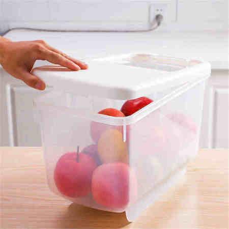 宝优妮厨房日式塑料加厚储米方形米缸面粉桶定量米箱送量杯·象牙色