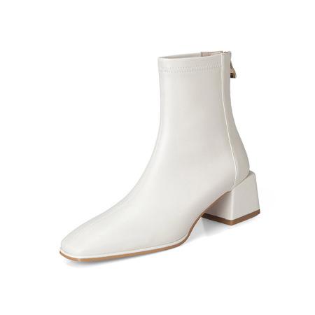 奈绮儿 牛皮PU粗跟弹力靴短靴女靴·NQE-D61米白色