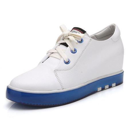 Garthphil 牛皮圆头厚底内增高单鞋真皮小白鞋女·l063911白蓝