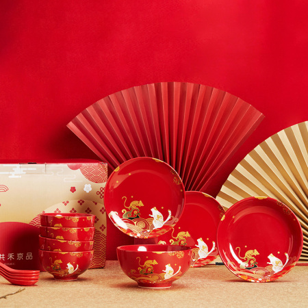 共禾京品 福猫鼠钱12件套餐具套装·红色