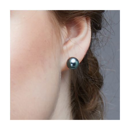 Vermeer 18K金黑色大溪地海水珍珠基础耳钉10-11mm