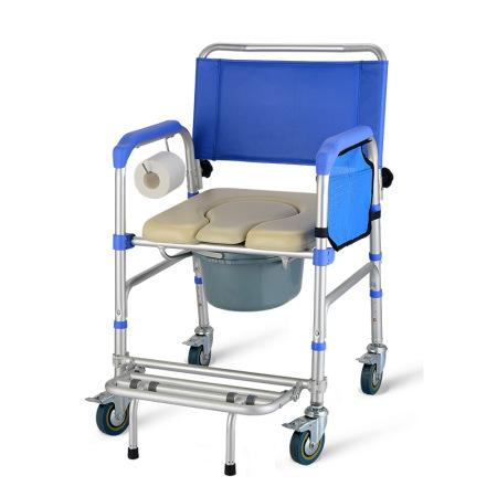 好步 可折叠带轮坐便椅