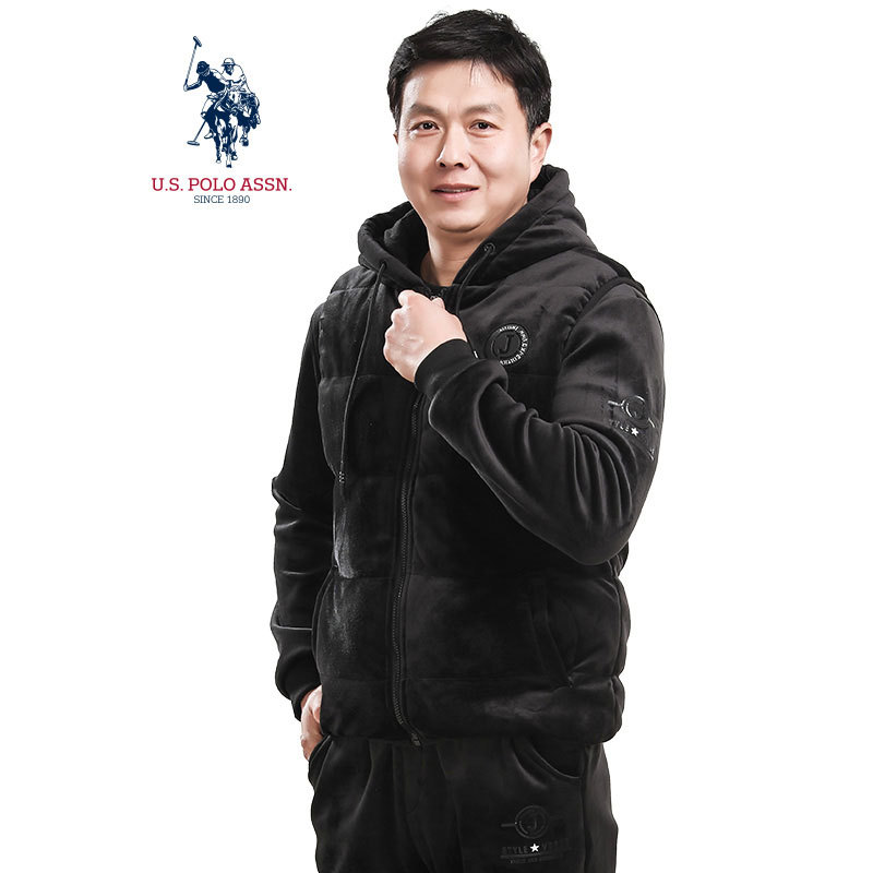 美国U.S.POLO ASSN.丝绒运动套装(新)·黑色