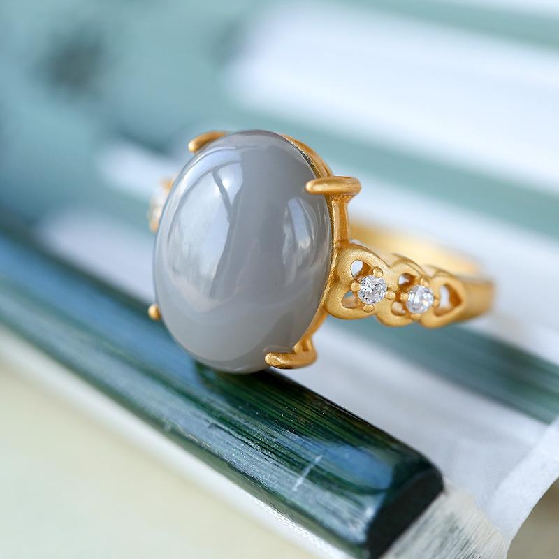觅玉缘925银镶嵌和田烟紫玉爱心戒托四爪开口戒指
