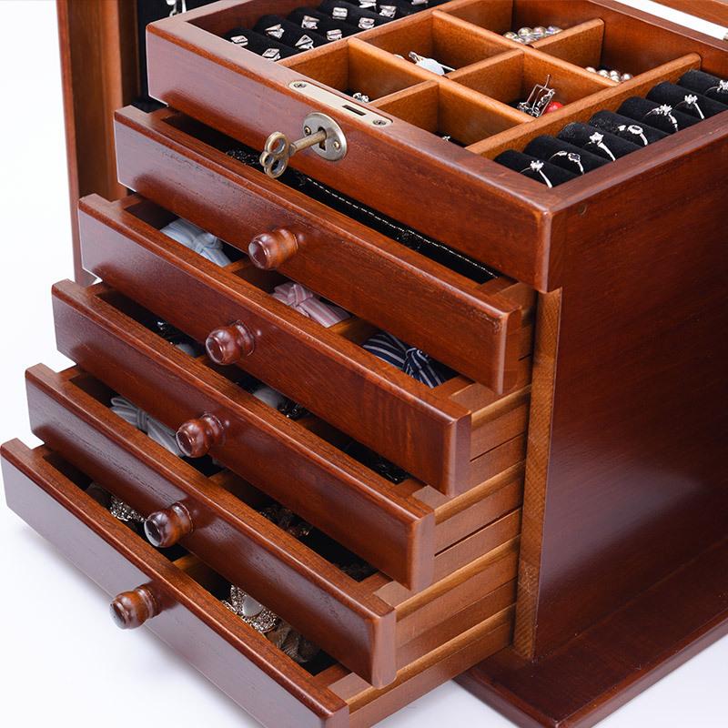 百年许氏实木多层大容量珠宝首饰盒