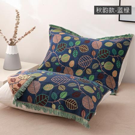 YENLN日本家居纯棉四层纱布流苏枕巾一对装·秋韵蓝绿色