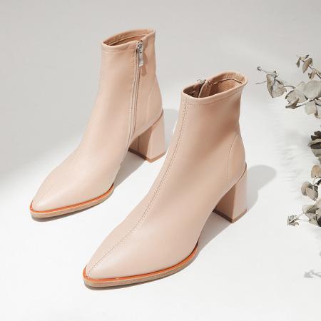 Naiyee奈绮儿 【羊皮】尖头时装靴简约粗跟短筒靴女靴子女鞋·PDL-P1314奶茶色