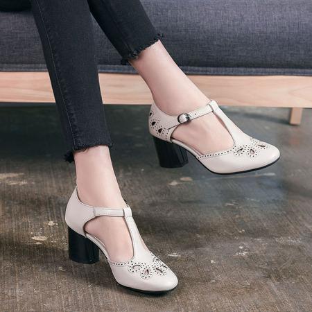 Garthphil 高跟鞋女里外全皮女鞋中空浅口女单鞋f001505-3387·米白色