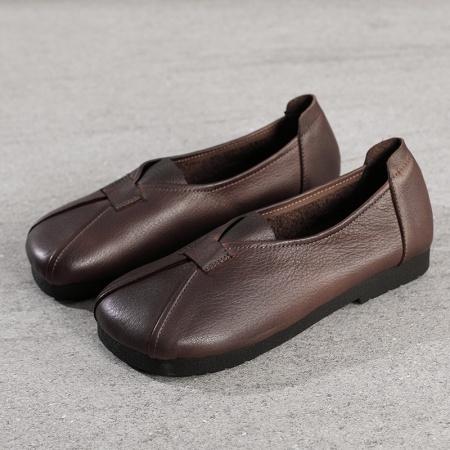 AFW复古头层牛皮女鞋圆头单鞋软皮软底休闲妈妈鞋216-2·咖啡色
