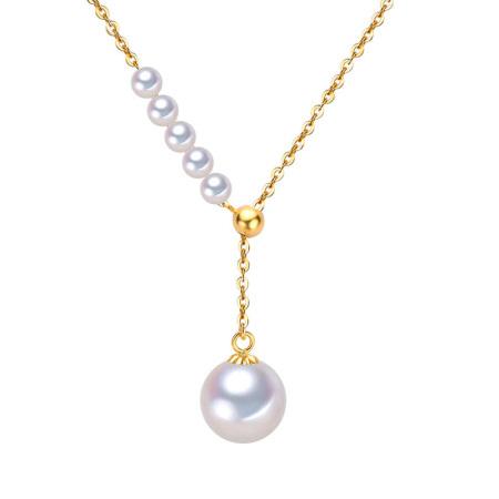 银生珍珠18k金4-9mm圆形淡水珍珠Y形调节链全长45cm共同