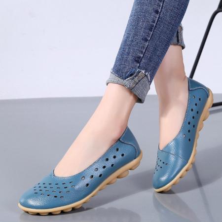 玉露浓 牛皮镂空洞洞软底豆豆鞋·蓝色