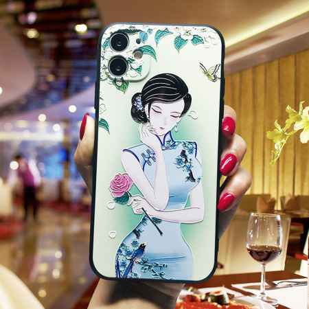 国潮中国风浮雕软壳手机壳 WH20200610·梅花旗袍美女