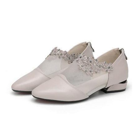 SSYAOGE妖歌真皮水钻时尚复古网纱凉鞋L273·白色