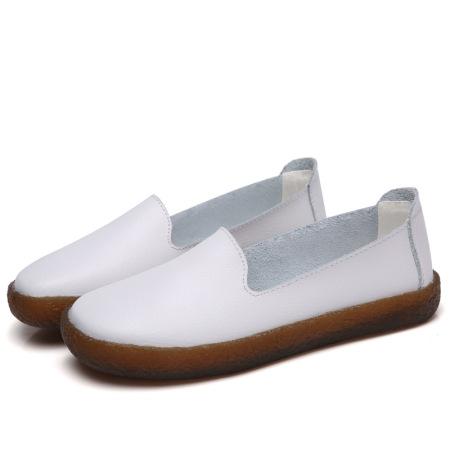 牛皮圆头休闲减震低跟女鞋·白色