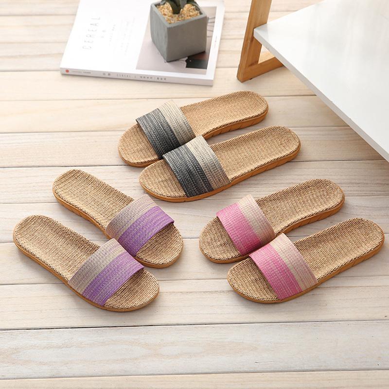 丁摩 亚麻拖鞋柔软耐磨拖鞋家居拖鞋夏季沙滩拖鞋男款女款·粉色+紫色(女+女)