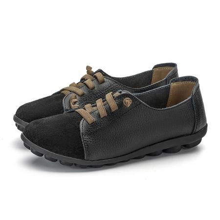 春款新款一脚蹬假系带豆豆鞋女鞋·黑色