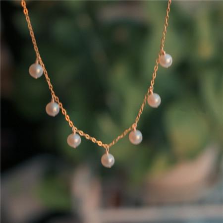 香港直邮 14K包金天然淡水正圆珍珠流苏项链 BX2