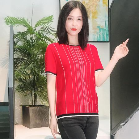 恒源祥集团Fazeya100天丝(纯莱赛尔纤维)不粘身女士上衣·YZB-19109中国红
