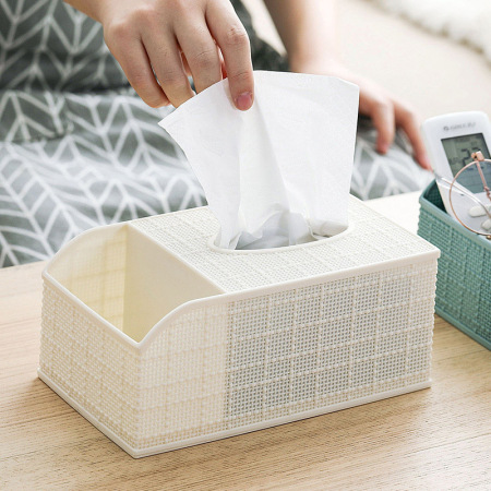 布纹桌面收纳分格纸巾盒-分格设计 随心放置·米白色