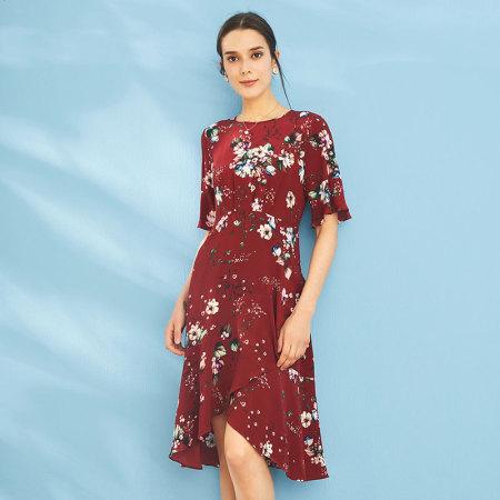 尚街 法式复古仙女裙!第一眼就心动·三色可选·真丝水袖连衣裙 经典红