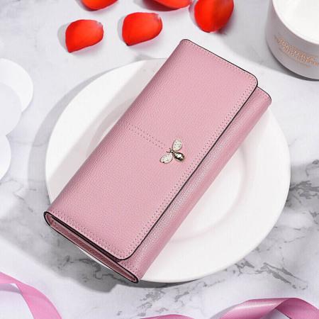 皮尔卡丹 女士长款钱包P6C660121-61S粉·粉色