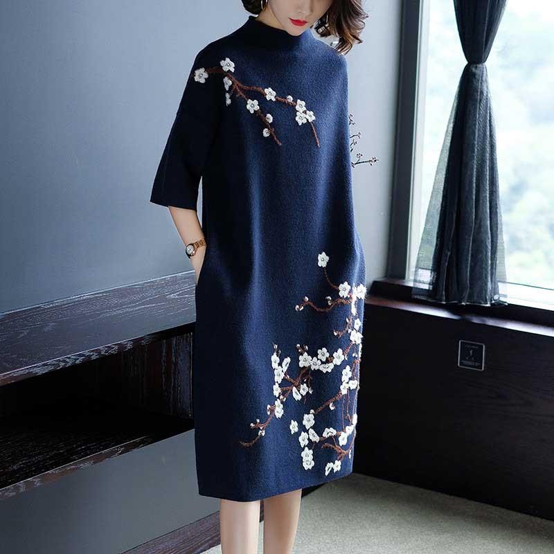 2019秋冬绣花针织连衣裙·黑色--设计师风,一见倾心!