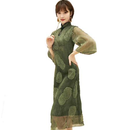 Afayedi优雅七分袖旗袍连衣裙_145-9050·水墨绿
