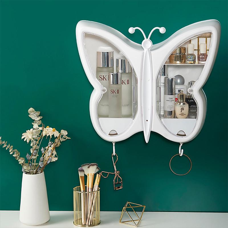 海兴化妆品收纳盒壁挂式免打孔防尘家用大容量卫生间挂墙上浴室置物架·壁挂式蝴蝶款