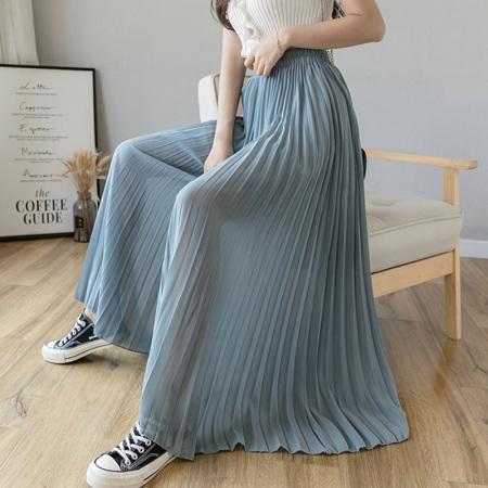 玉露浓 雪纺 大摆半身裙·蓝色