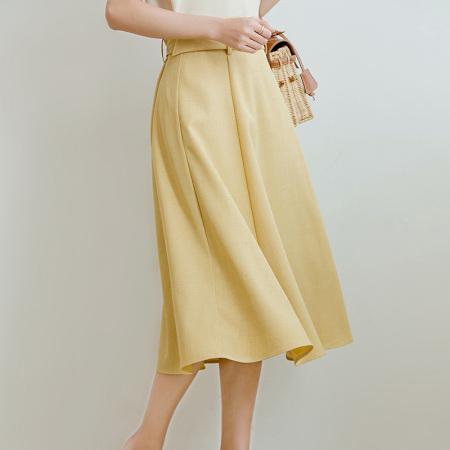 花雨韩版气质宽松显瘦遮胯中长款a字裙·黄色