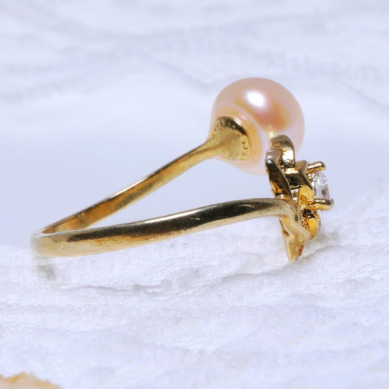 缔梵珠宝天然淡水珍珠抱款戒·金色