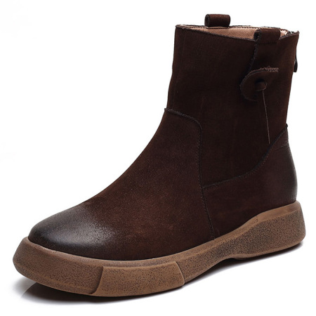 蒂朵雅 真皮英伦风女鞋厚底平底短靴女靴l002302-3559·深棕厚绒