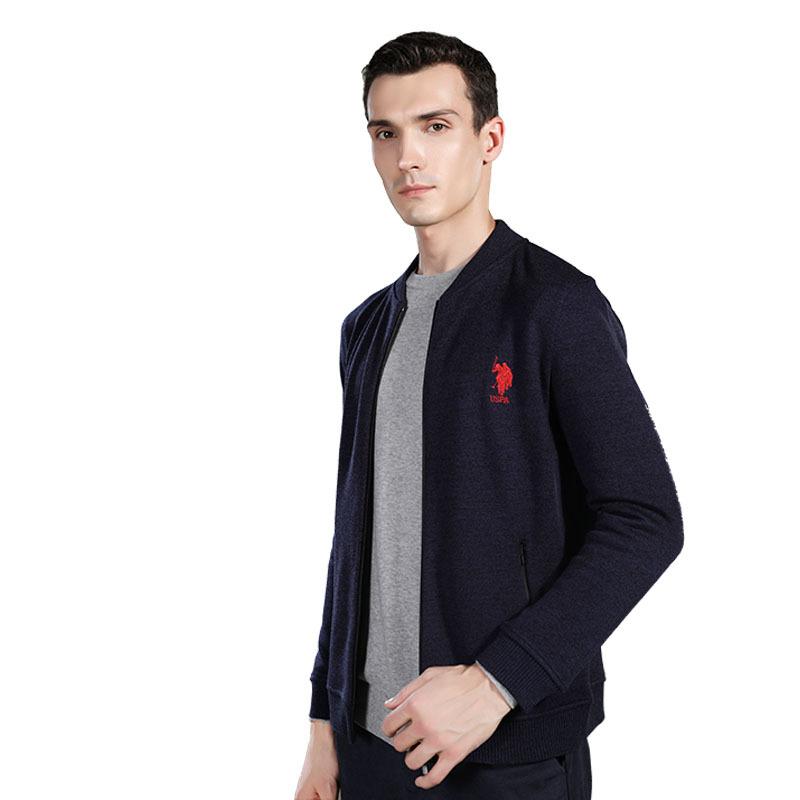 美国U.S.POLO ASSN.保暖针织外套·藏青