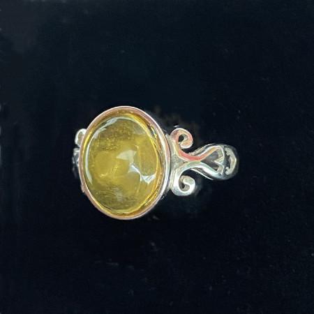 缔梵珠宝琥珀蛋面925银戒·戒面约11.1*9.8mm