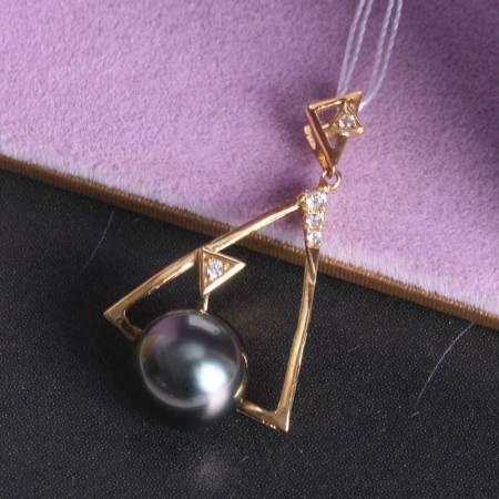 (限量)银生珍珠14k金9-10mm海水黑珍珠金三角吊坠含银链