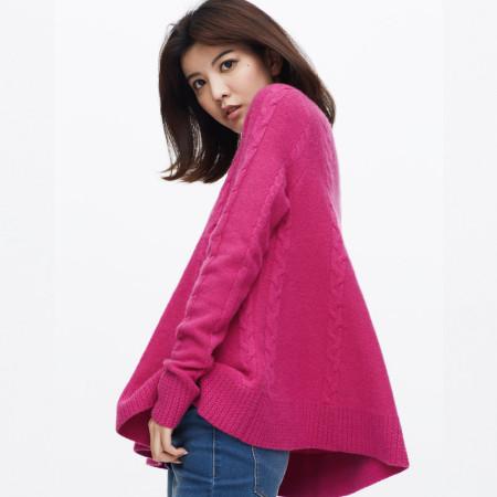 雪莲集团 红莲系列真羊绒100 扭花圆领羊绒衫69-059·品红