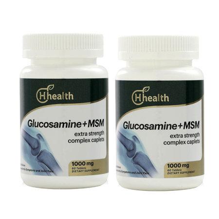 跨境品加拿大Hhealth氨糖MSM复合营养片60粒*2瓶
