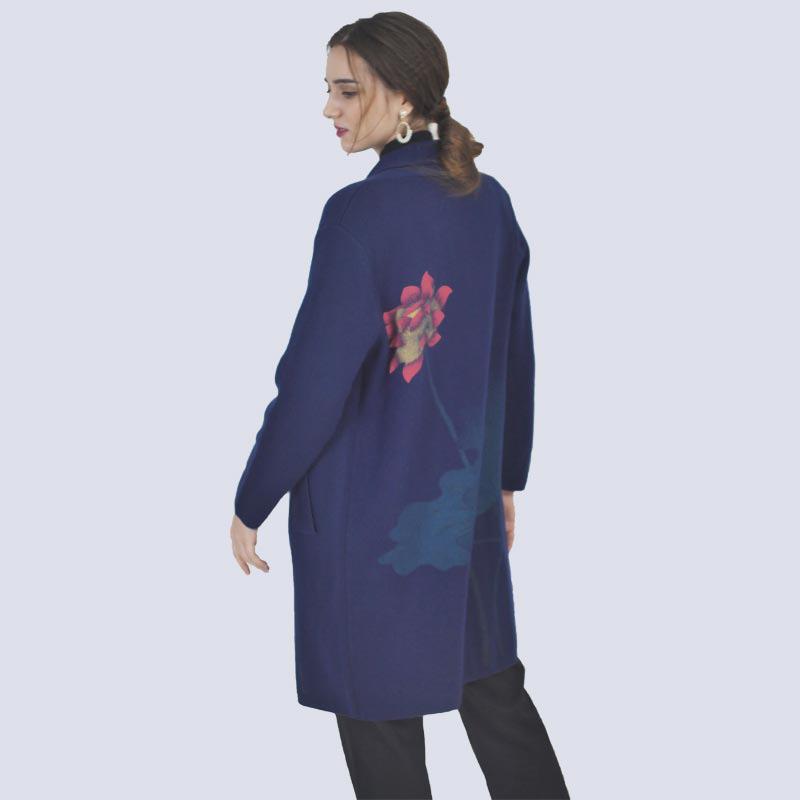 圣格伦纳毛织绣花外套·蓝色