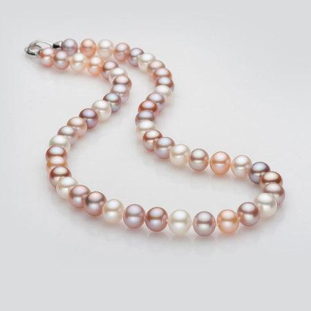 银生珍珠圆形高光泽淡水彩色珍珠项链8.5-9.5mm     共同