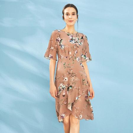 尚街 法式复古仙女裙!第一眼就心动·三色可选·真丝水袖连衣裙 咖啡色