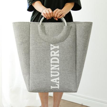 北欧风手布艺收纳桶收纳篓脏衣篮32*28*49cm·灰色