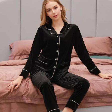 燕情尔金丝绒睡衣套装·女-黑色