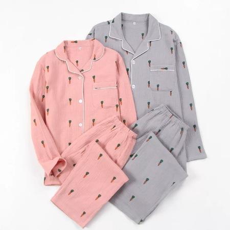 纱布睡衣套装·长袖+长裤(胡萝卜灰色绉布男款)