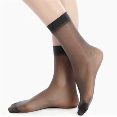 寓美高端品质5D高透明天鹅绒短袜(12双)·黑灰色